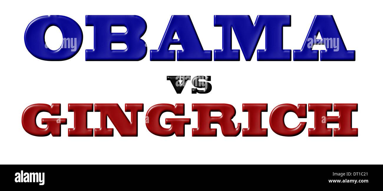 Obama vs Gingrich Stock Photo