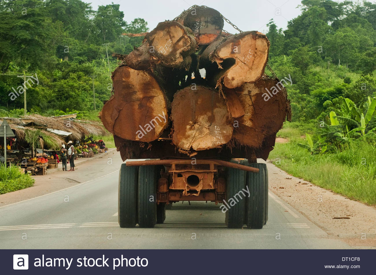 Atobiase Ghana Truck loaded with rainforest timber Atobiase Ghana - Stock Image
