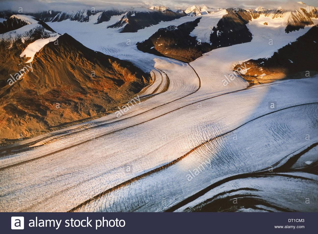 Wrangell-St. Elias National Park Alaska USA Logan Glacier aerial Wrangell-St Elias park - Stock Image