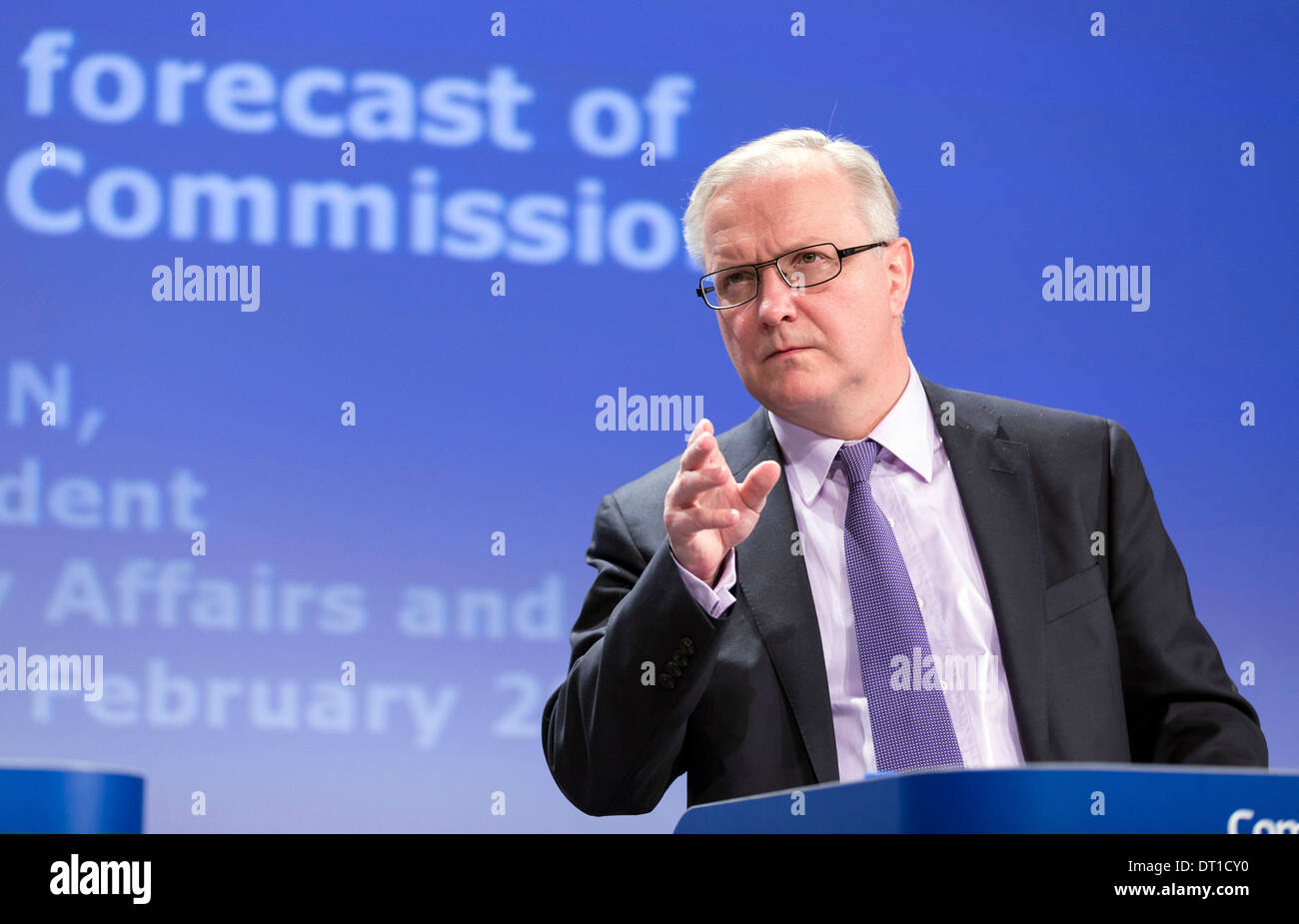 Belgium, Brussels: Olli Rehn talking about the EU economic situation (2013/02/22) - Stock Image