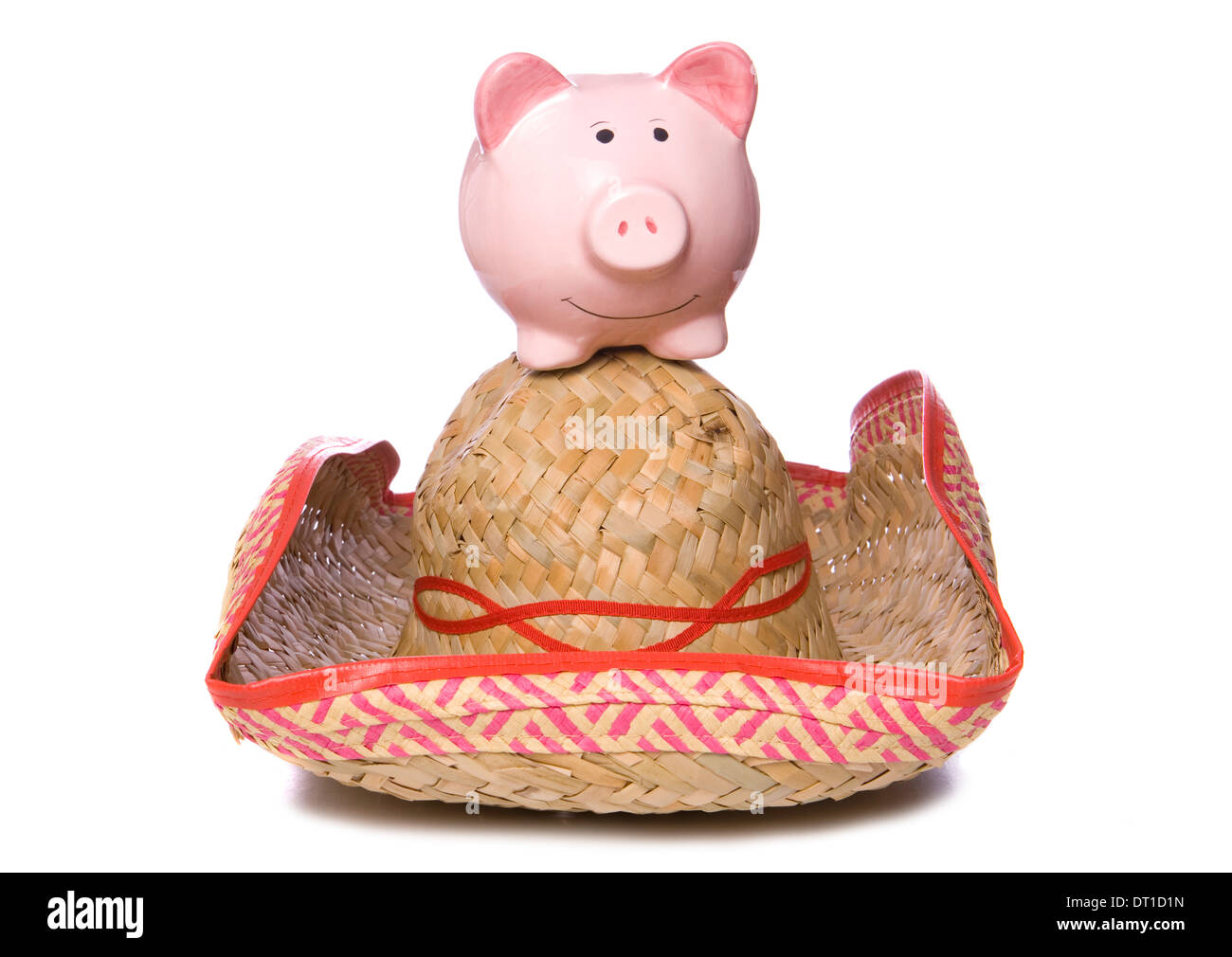 Holiday in Mexico piggy bank cutout - Stock Image