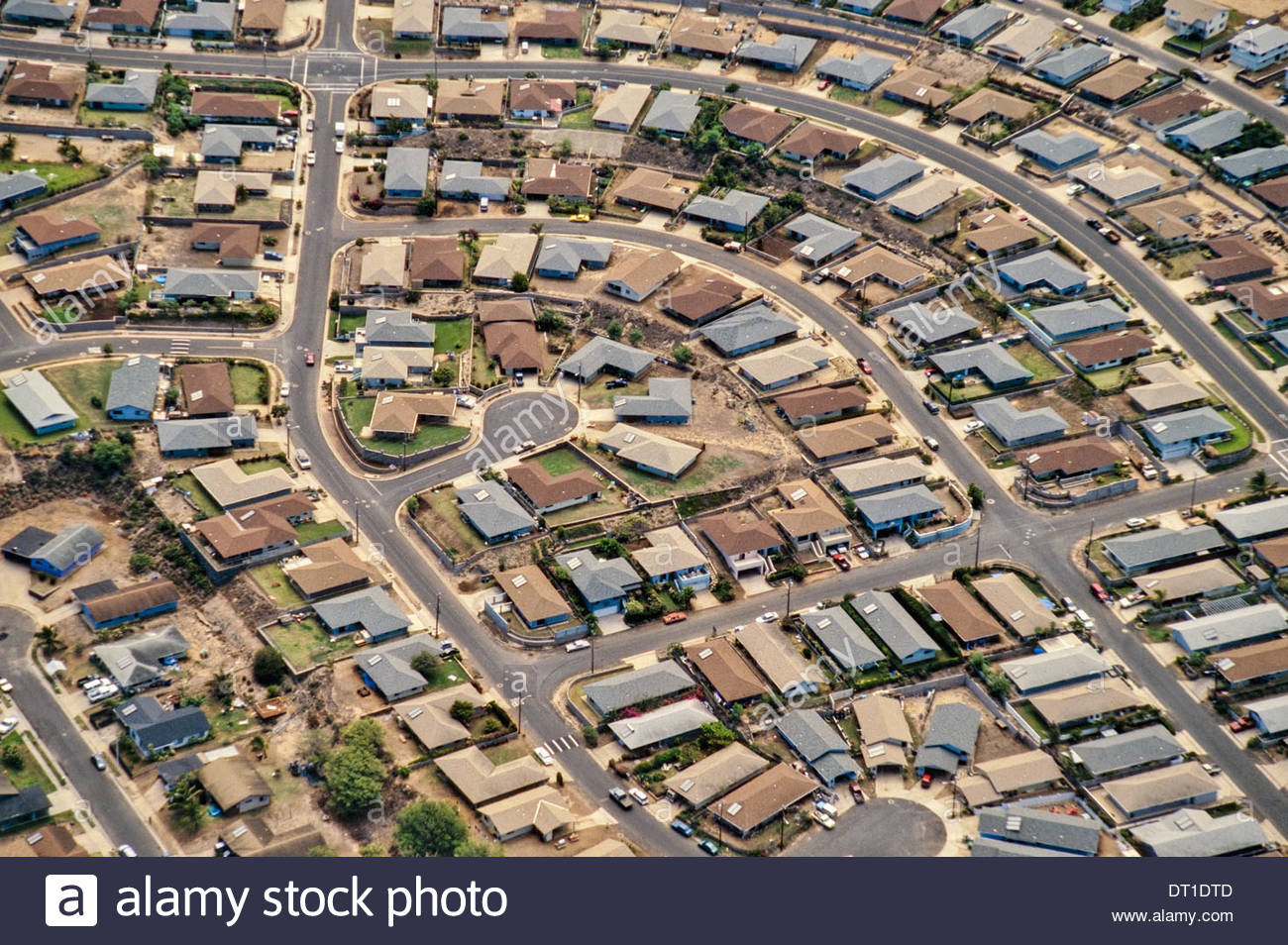 Maui Hawaii Suburban development aerial view on Maui Hawaii - Stock Image