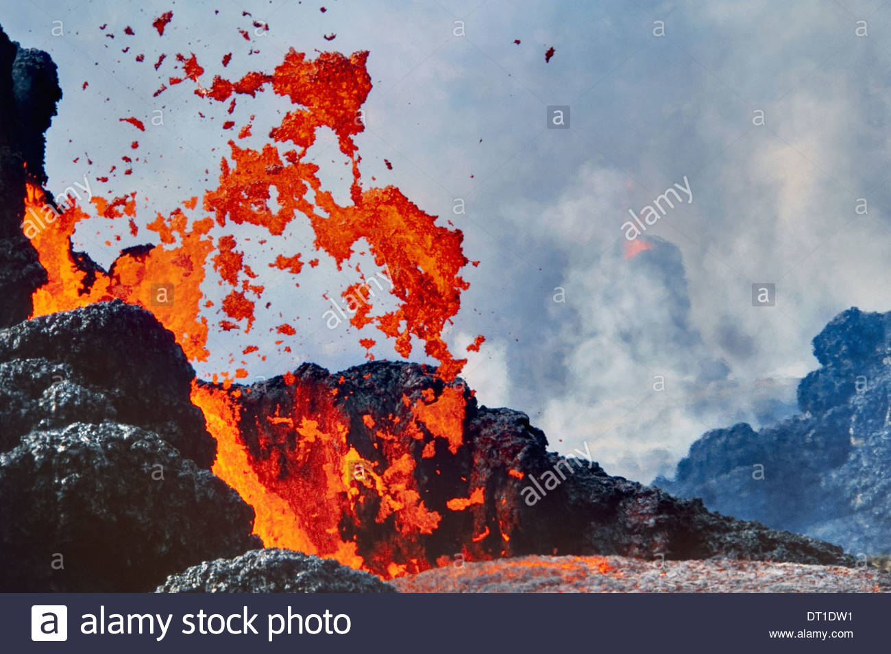 Hawaii Volcanoes National Park Hawaii Erupting lava Hawaii Volcanoes National Park - Stock Image