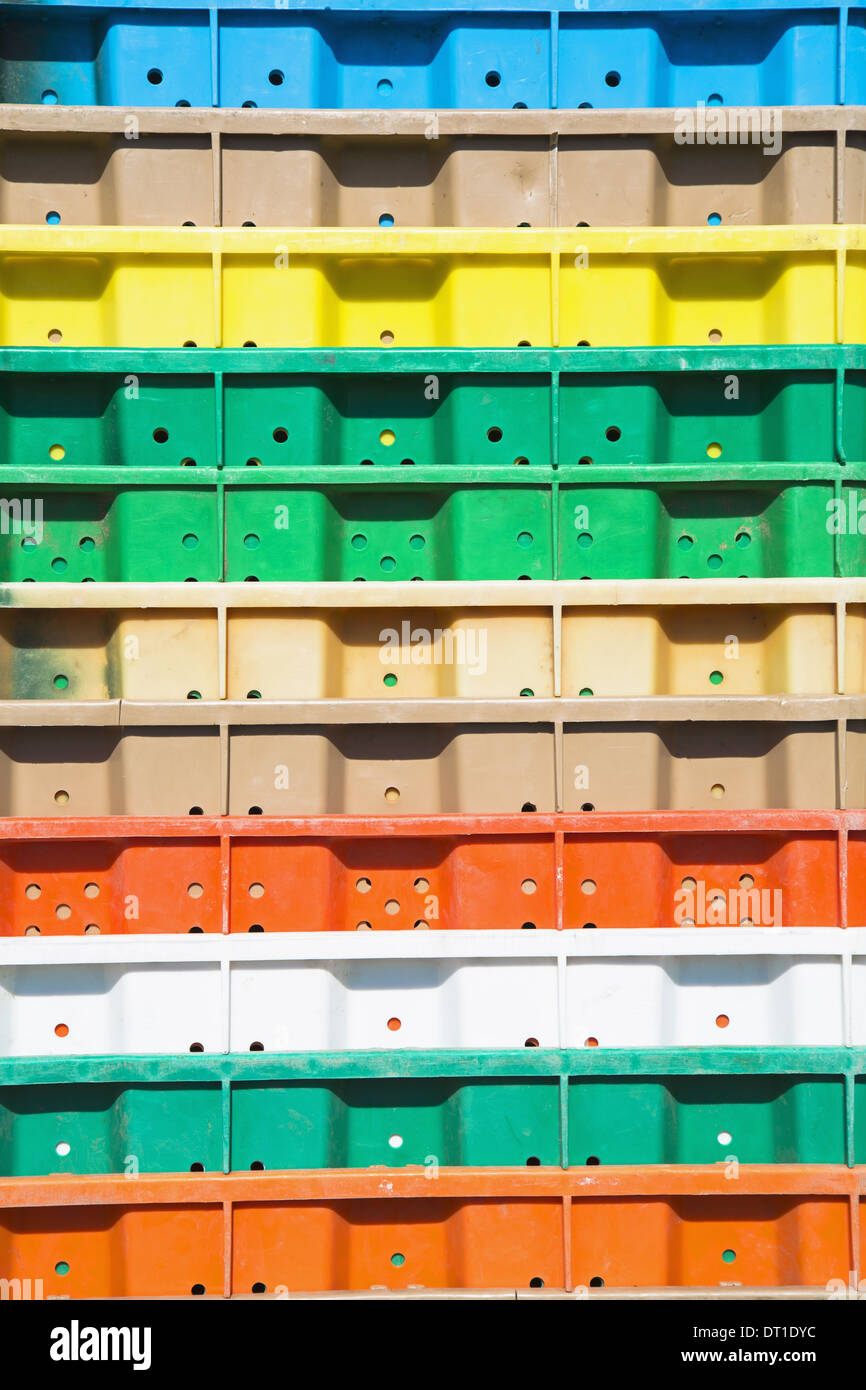 Washington State USA Stacks multi-colored containers for grape harvest Stock Photo