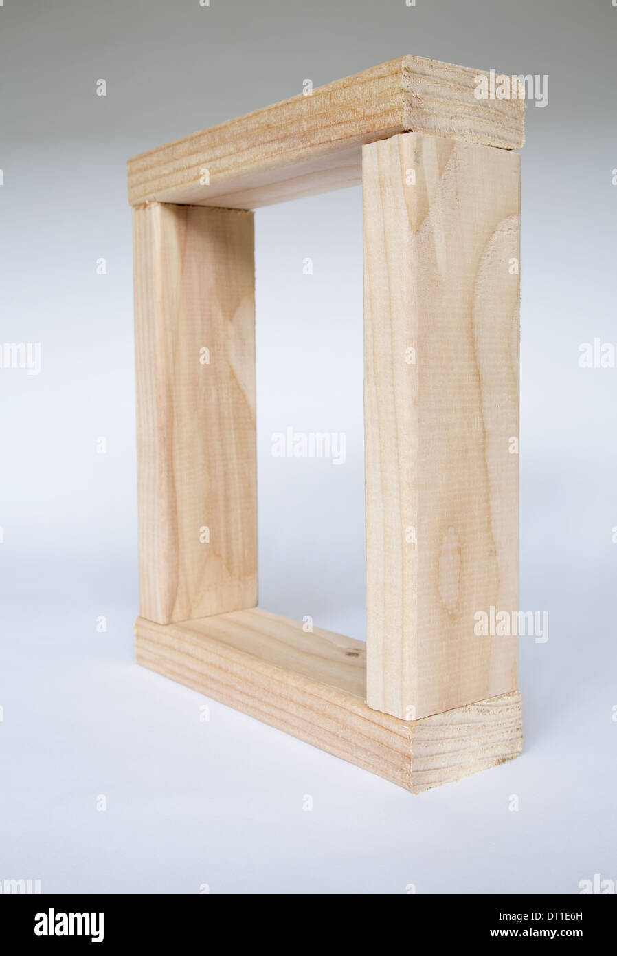 Washington State USA wood timbers fitted together Spruce square frame - Stock Image