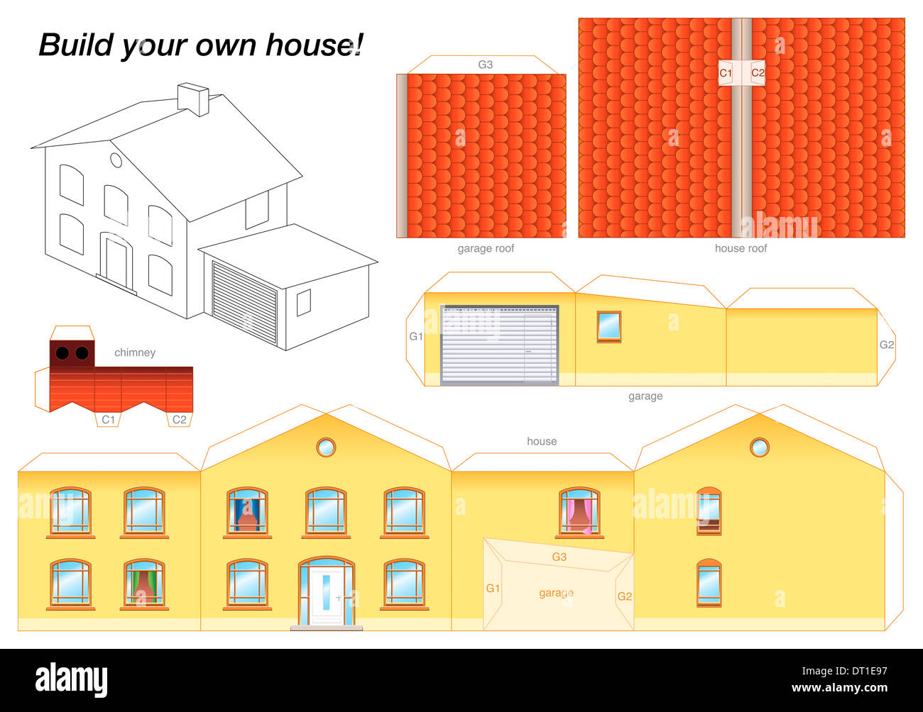 Good Paper Model Of A Yellow House With Garage   Easy To Make   Print It On  Heavy Paper, Cut The Pieces Out And Glue Them Together.