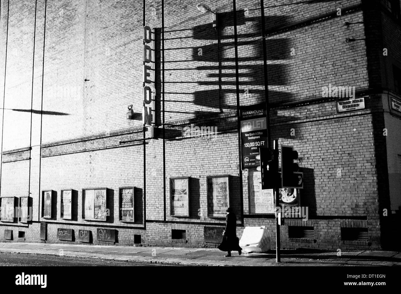 Shadows on wall of now demolished art deco era Odeon Cinema on Renfield Street in Glasgow, Scotland - Stock Image