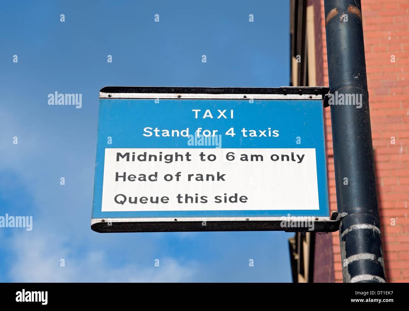 Taxi rank sign York North Yorkshire England UK United Kingdom GB Great Britain Stock Photo