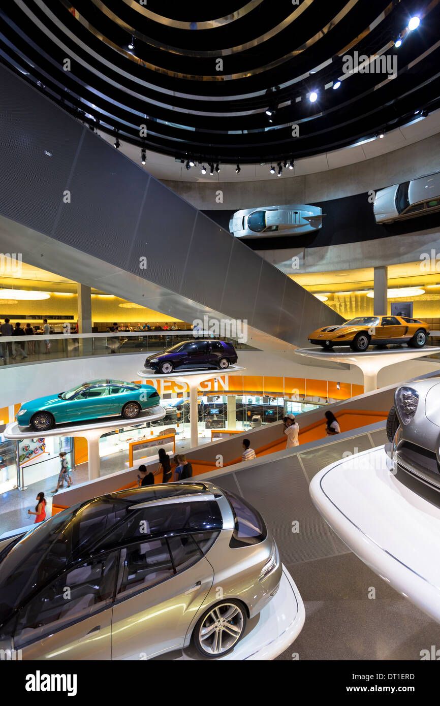Mercedes-Benz concept cars in their museum gallery and showroom in Mercedesstrasse in Stuttgart, Bavaria, Germany - Stock Image