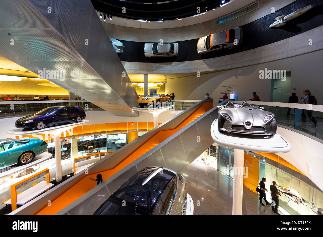 Mercedes-Benz concept cars in museum gallery in Stuttgart, Bavaria, Germany F400 Carving V6 from 2001 (silver), C111 from 1970 - Stock Image