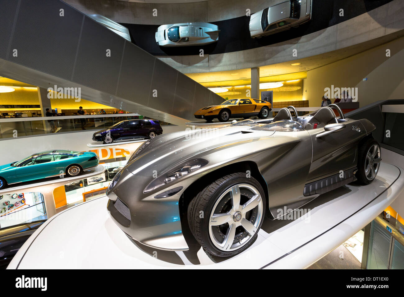 Mercedes-Benz concept cars in museum gallery in Stuttgart, Germany. In front is Mercedes F400 Carving V6 presented 2001 - Stock Image