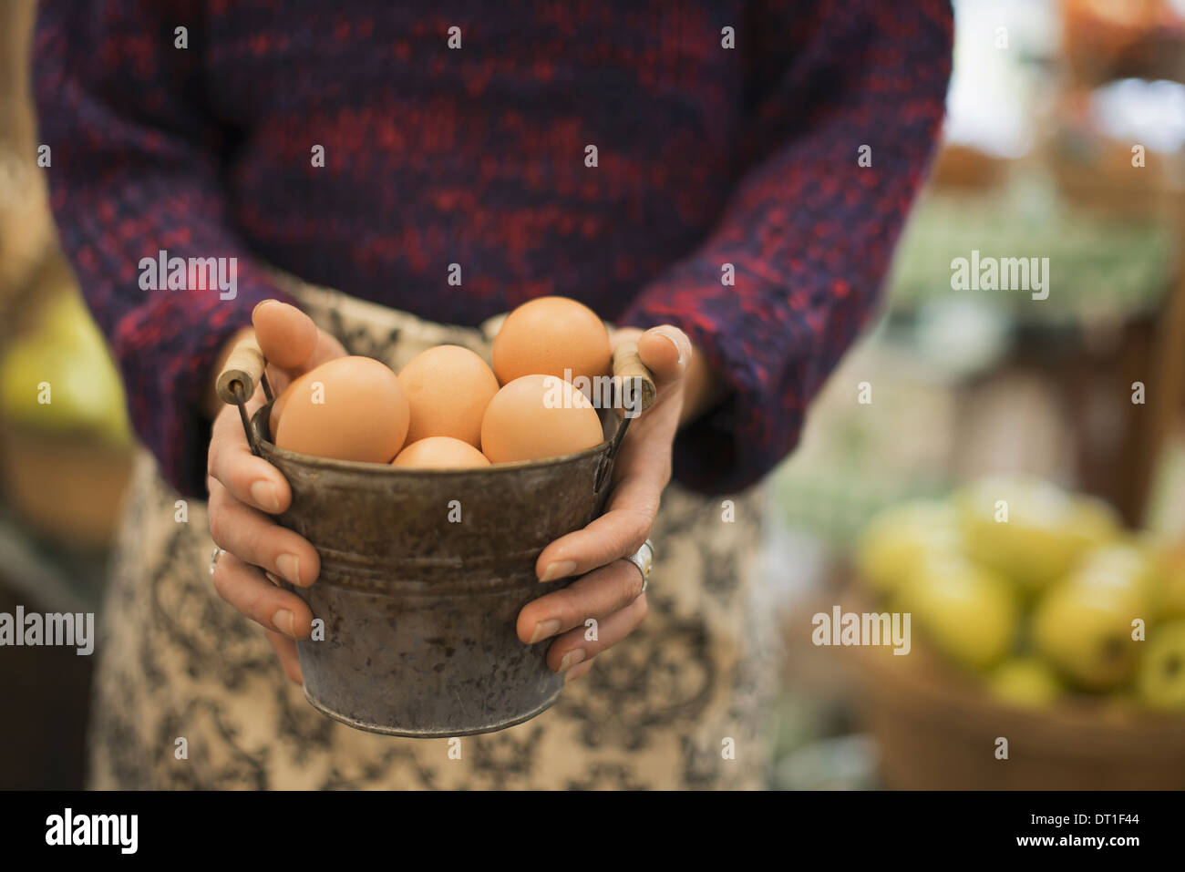 Organic Farmer at Work A woman carrying a container of eggs - Stock Image