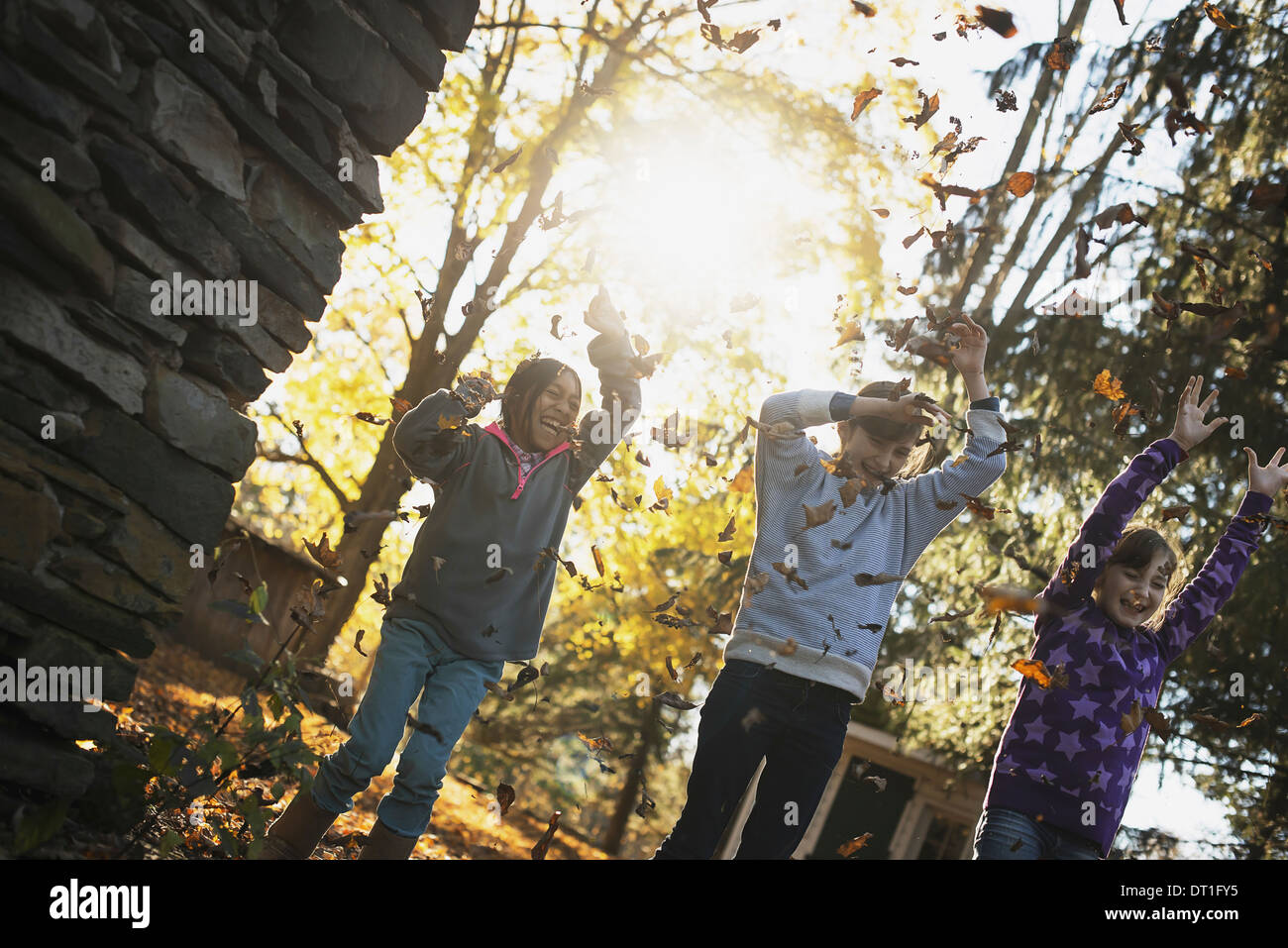 Three children in the autumn sunshine Playing outdoors throwing the fallen leaves in the air - Stock Image