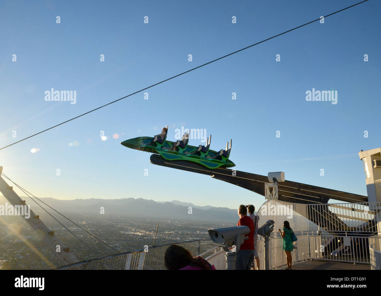 The terrifying thrill rides on top of the Stratosphere casino in Las Vegas - Stock Image