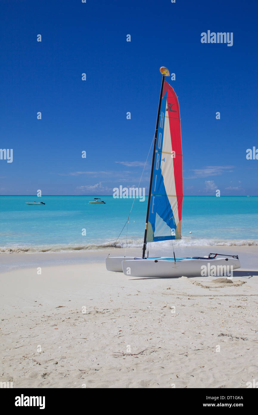 Beach and hobie cat, Jolly Harbour, St. Mary, Antigua, Leeward Islands, West Indies, Caribbean, Central America - Stock Image