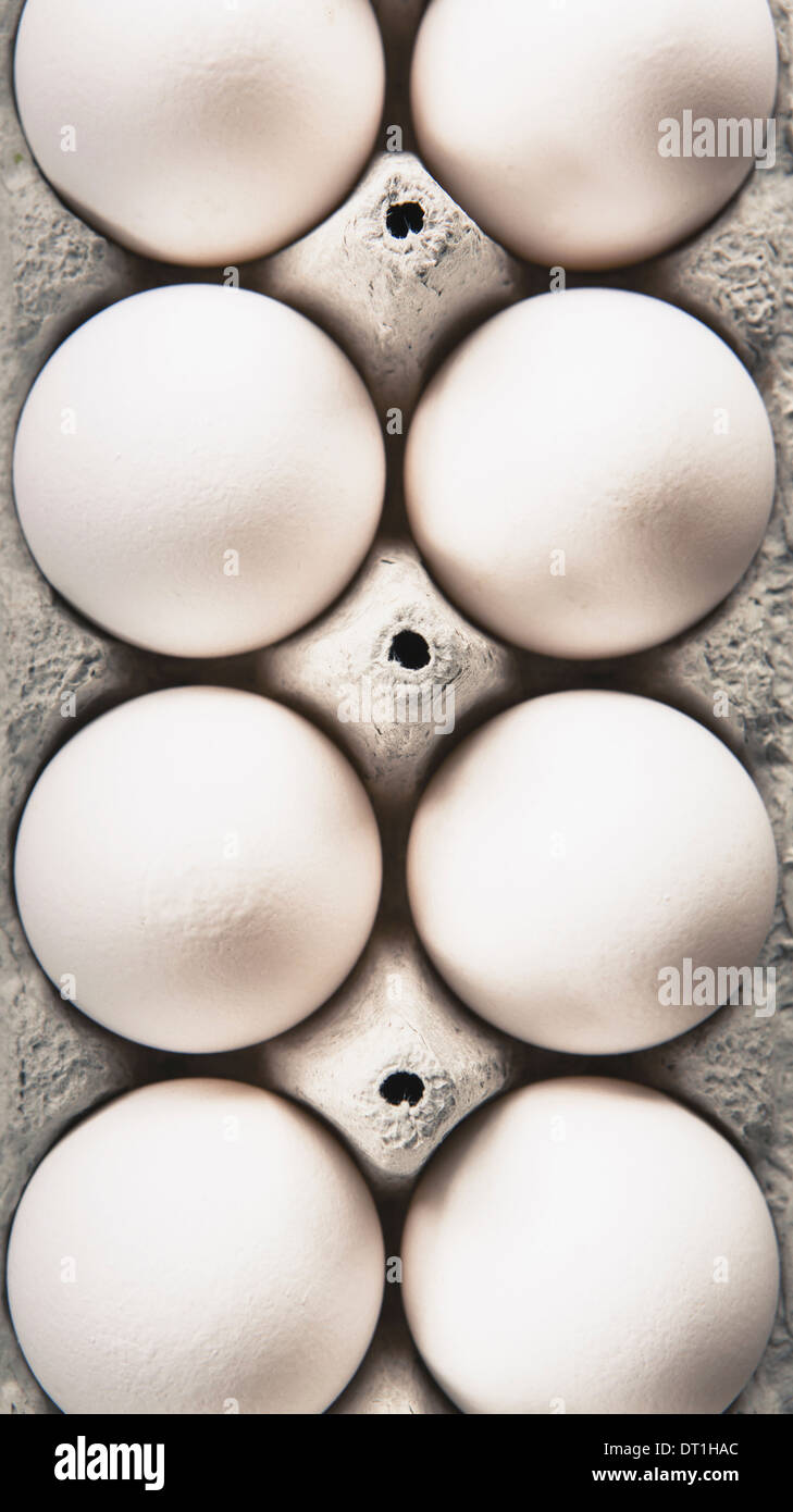 View from overhead of free range organic eggs in a cardboard egg box carton Stock Photo