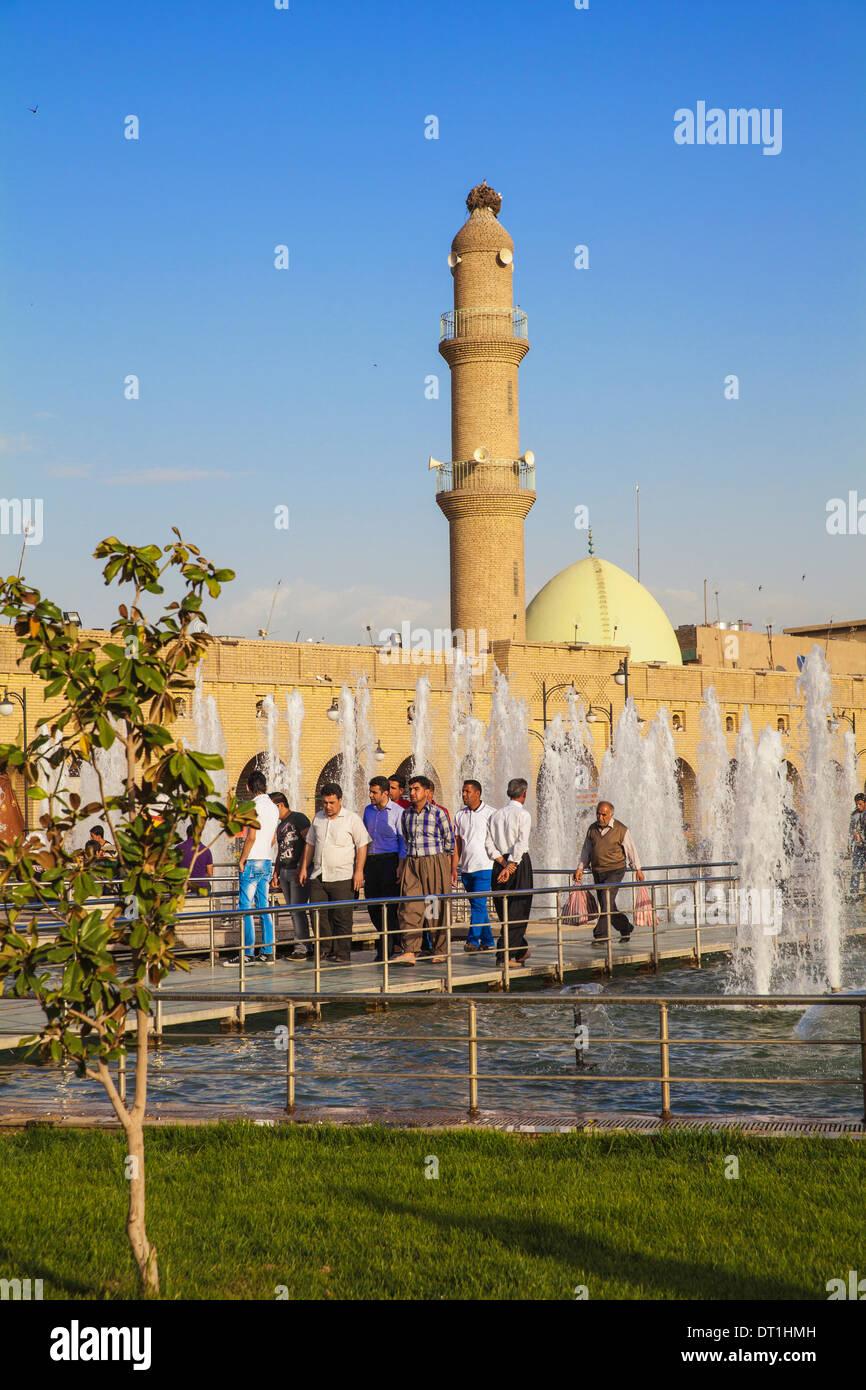 Minaret and Qaysari Bazaars, Shar Park, Erbil, Kurdistan, Iraq, Middle East - Stock Image