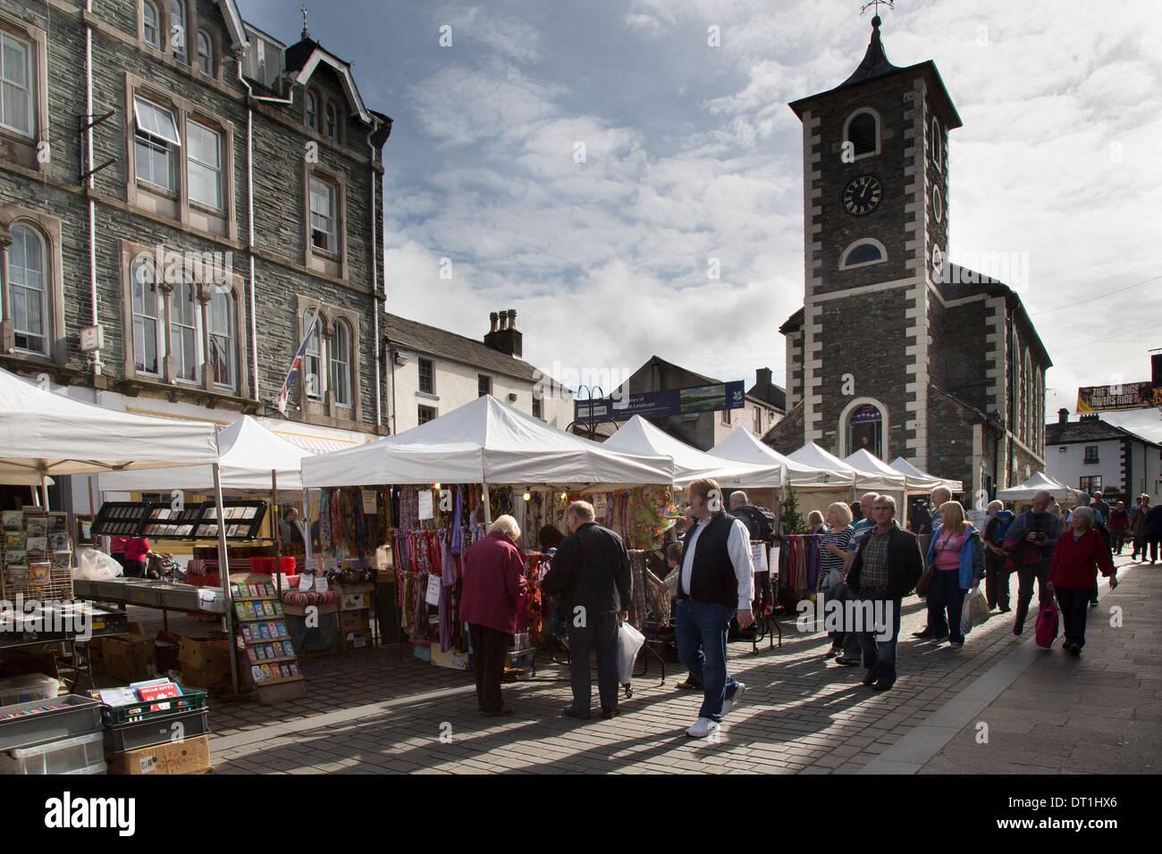 Market Square Thursday Market Day, Keswick, Cumbria - Stock Image