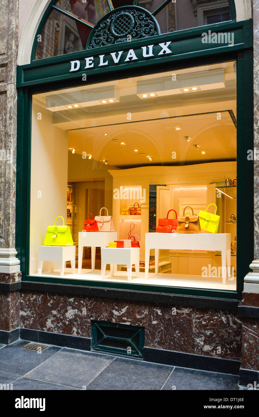 Delvaux shop window of the Belgian manufacturer of luxury leather goods founded in 1829 Galeries Royales Saint Hubert Brussels Belgium Europe - Stock Image