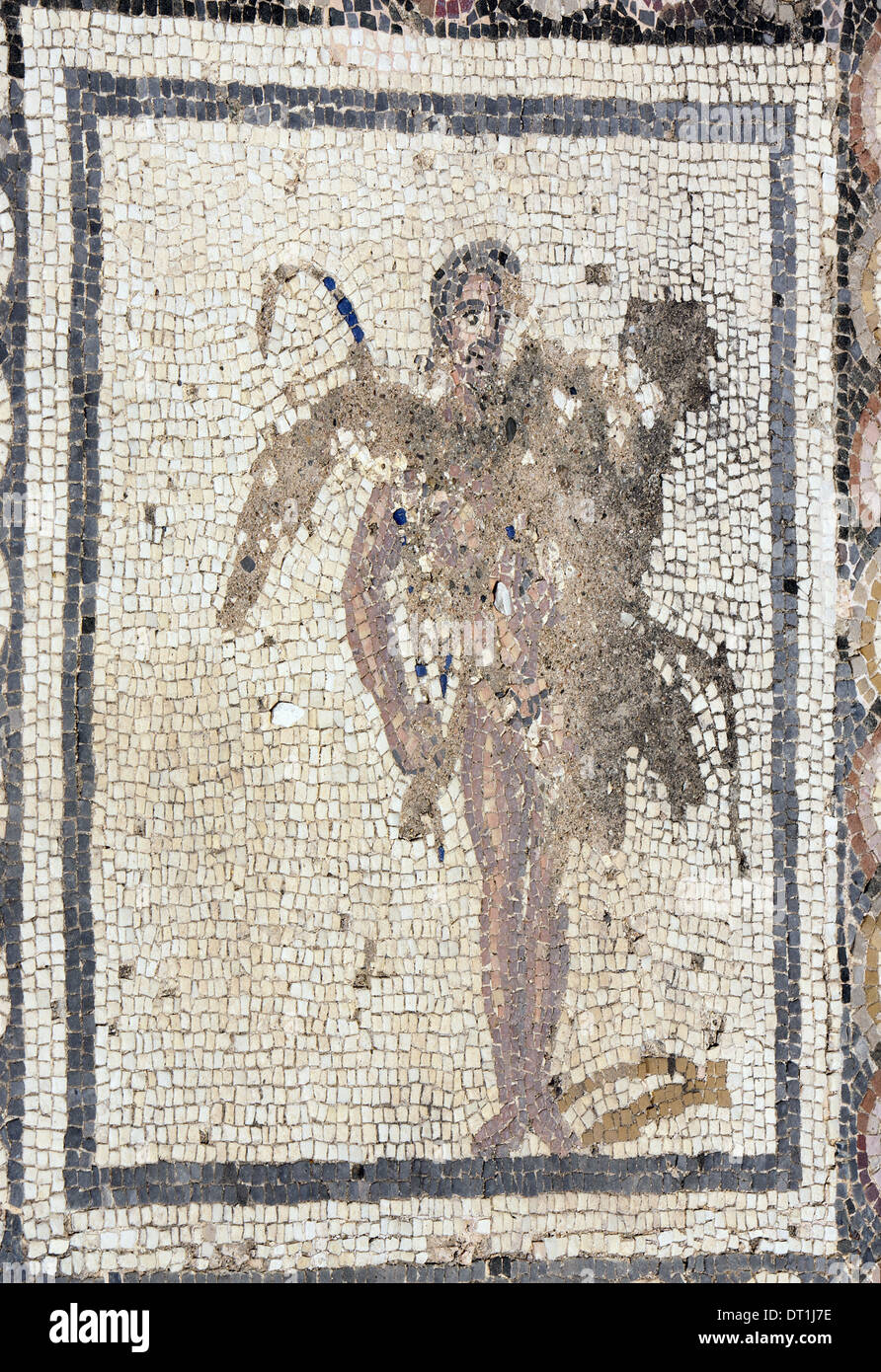 Spain. Italica. Roman city founded c. 206 BC. House of the Planetarium. Mosaic of Bacchus and Ariadne. Satyr. Andalusia. Stock Photo