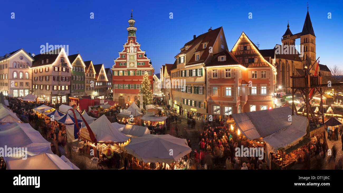 Christmas fair at the marketplace with old town hall and Sankt Dionys church, Esslingen, Baden Wurttemberg, Germany, Europe - Stock Image