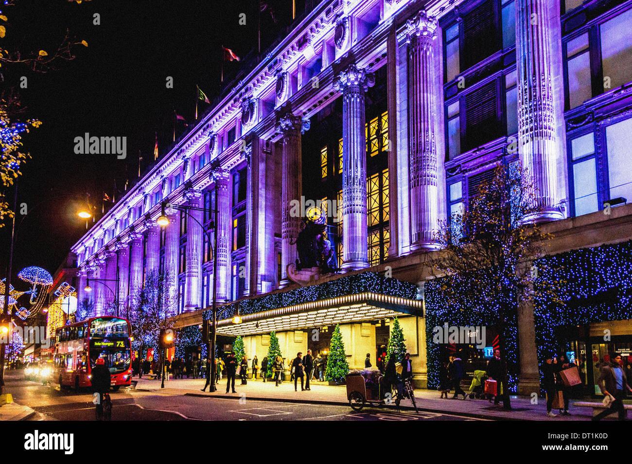 Selfridges department store, Oxford Street, London, UK, at Christmas. - Stock Image