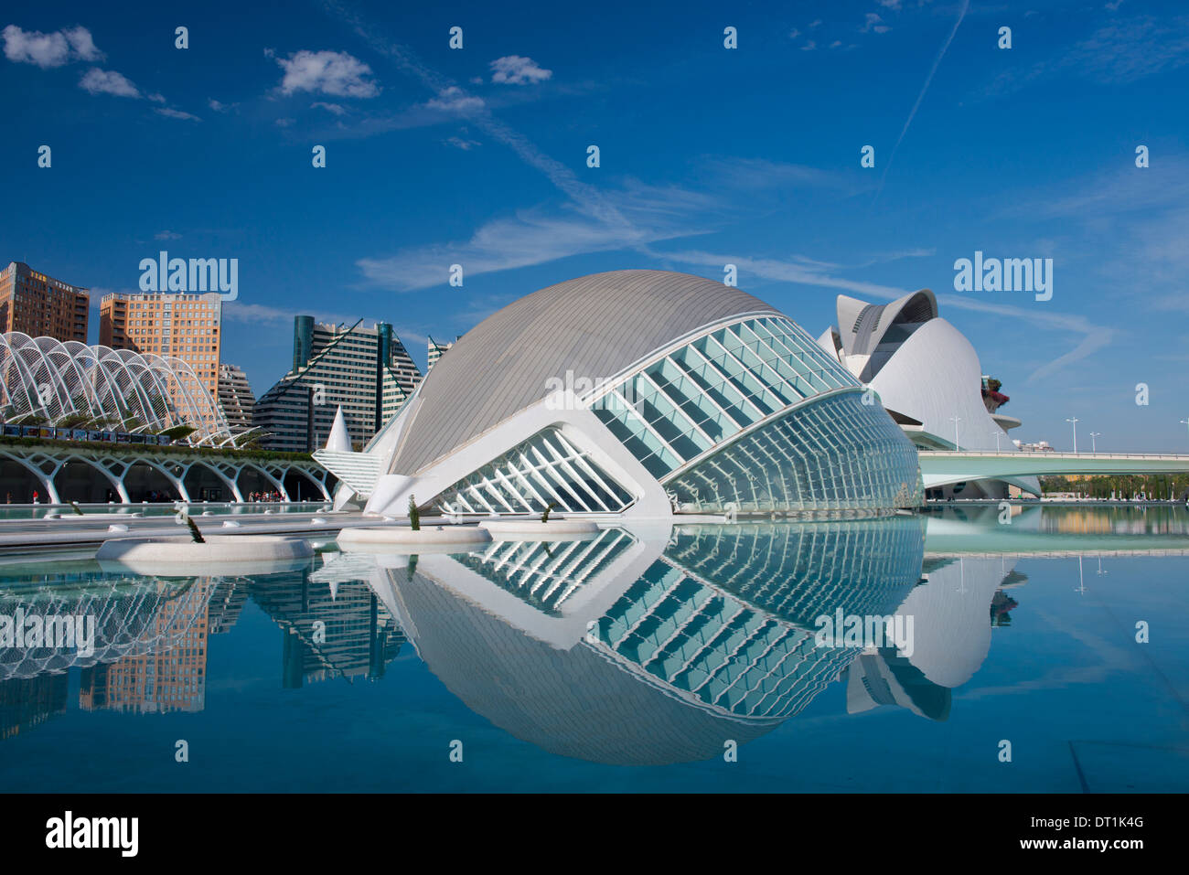 The Hemisferic building and reflecting pool in the Arts and Science Centre in Valencia, Valenciana, Spain, Europe - Stock Image