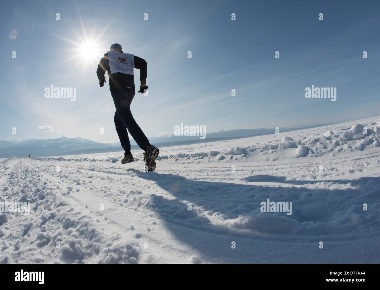 The 9th Lake Baikal Ice marathon, Lake Baikal, Irkutsk Oblast, Siberia, Russian Federation, Eurasia - Stock Image