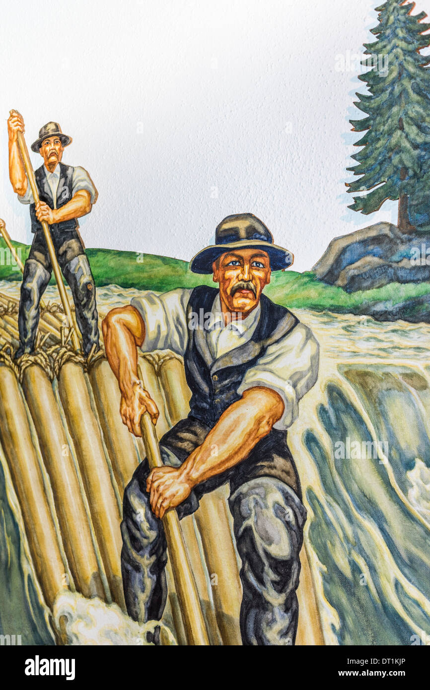 painting showing the historic craft of rafting logs, schuettesaege-museum, schiltach, black forest, baden-wuerttemberg, germany - Stock Image