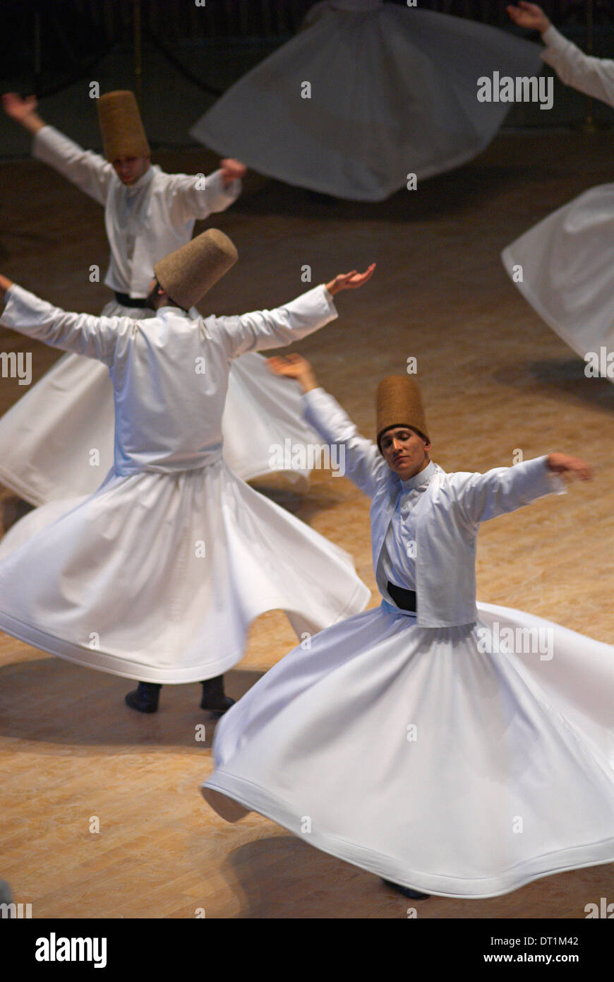 Whirling Dervishes at the Dervishes Festival, Konya, Central Anatolia, Turkey, Asia Minor, Eurasia - Stock Image