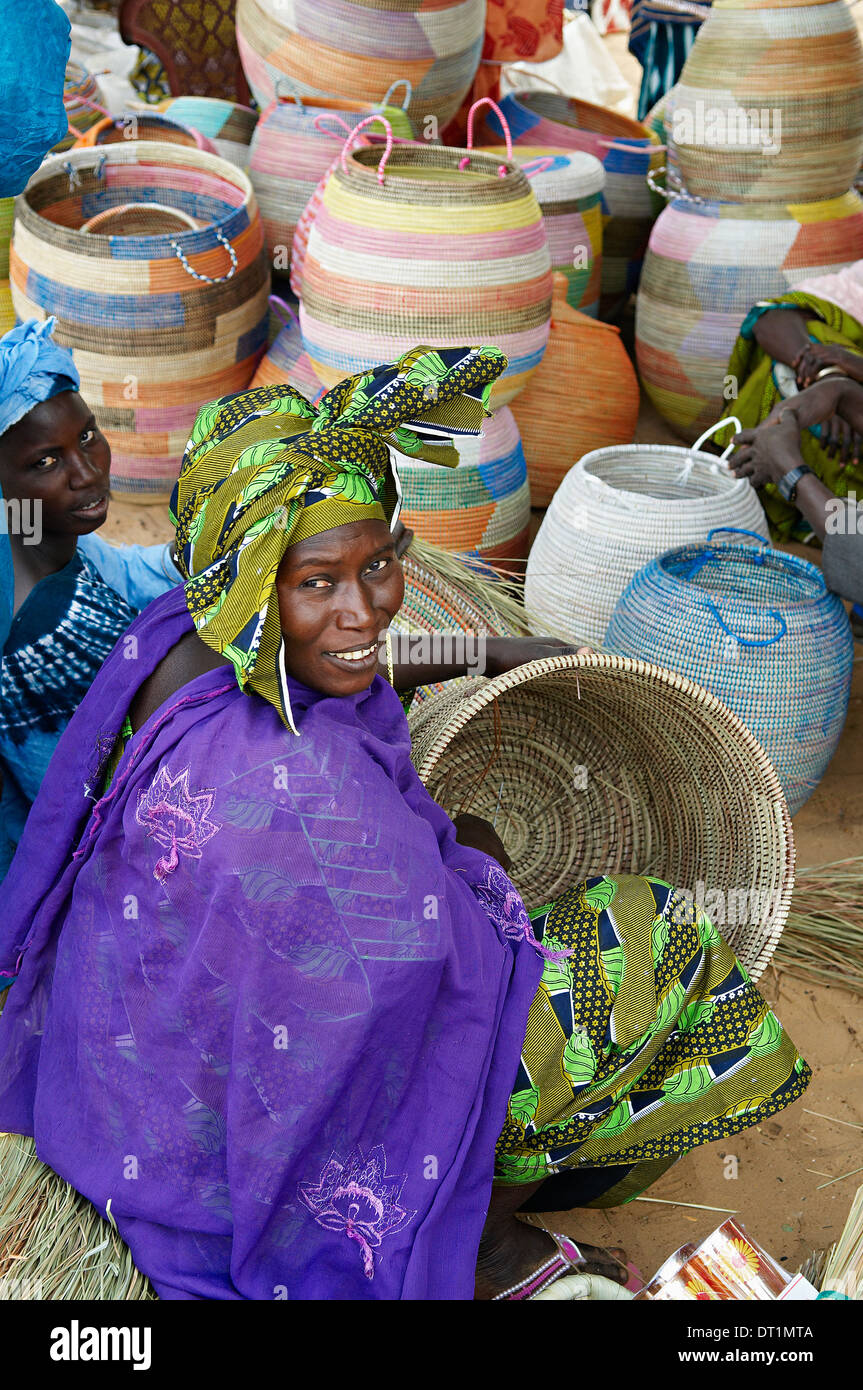 Market stall selling basketry near Thies, Senegal, West Africa, Africa - Stock Image