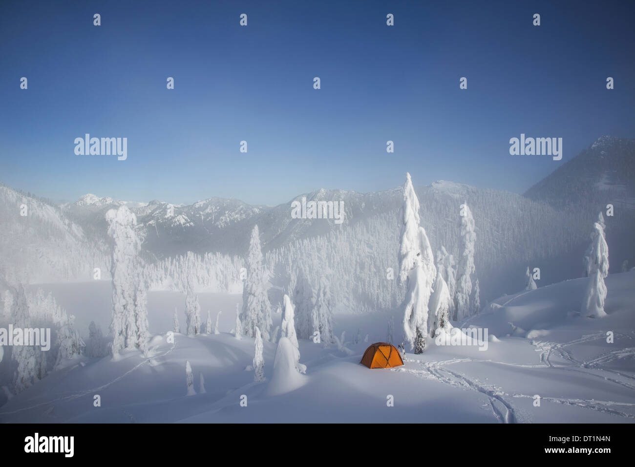 A bright orange tent among snow covered trees on a snowy ridge overlooking a mountain in the distance - Stock Image