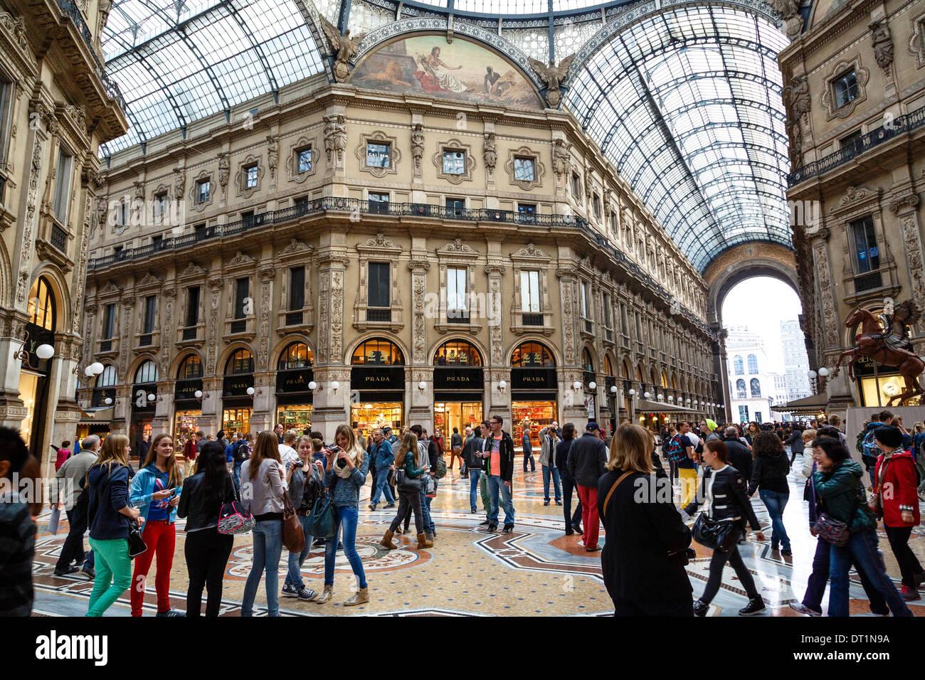 Galleria Vittorio Emanuele II, Milan, Lombardy, Italy, Europe - Stock Image