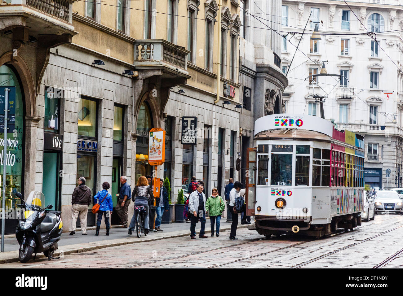 Tram at the city centre, Milan, Lombardy, Italy, Europe Stock Photo