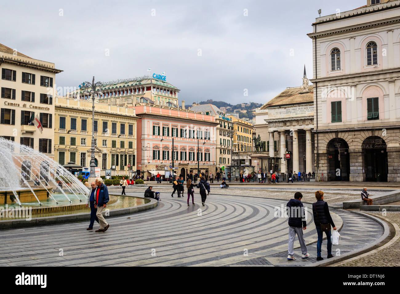 De Ferrari square, Genoa, Liguria, Italy, Europe - Stock Image