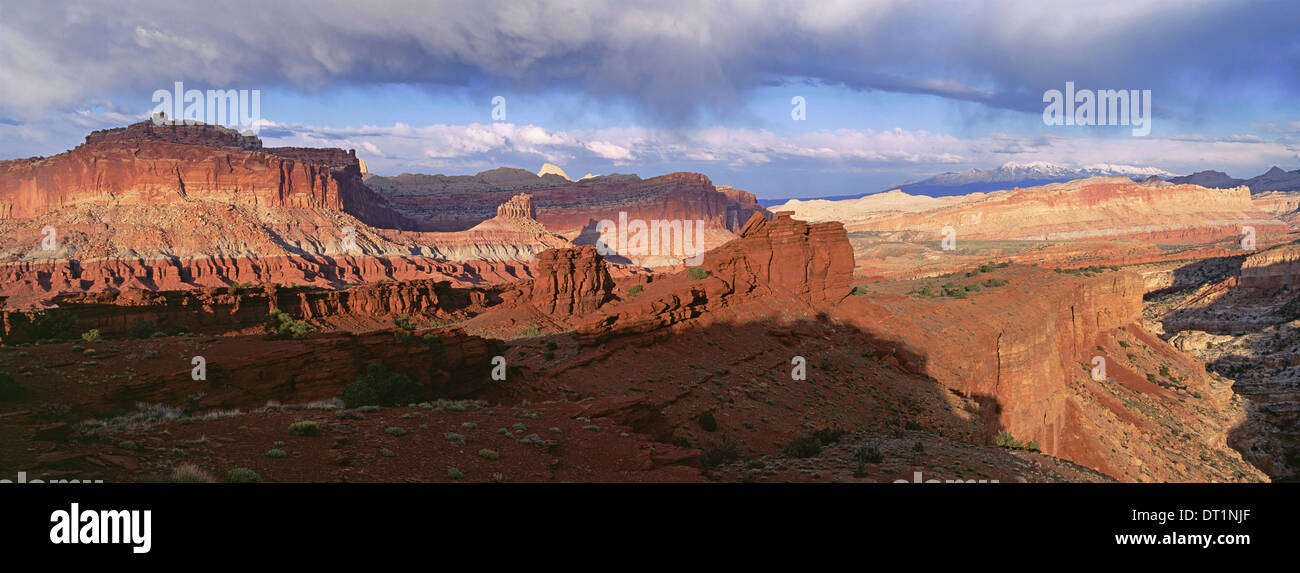 A view across the deep canyons and landscape of the Capitol Reef national park - Stock Image
