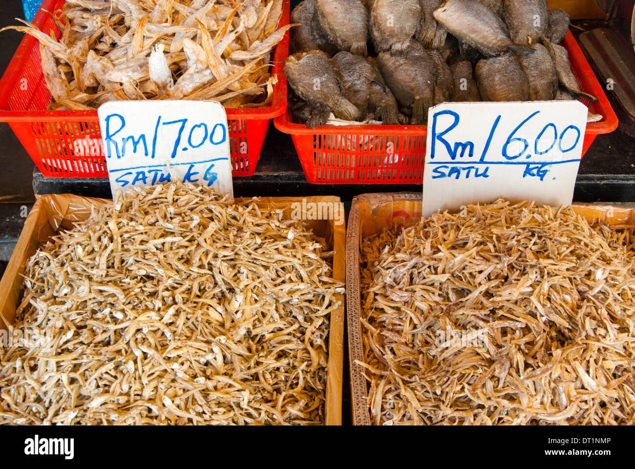 Dried fish, Food market, Kuching, Sarawak, Malaysian Borneo, Malaysia, Southeast Asia, Asia - Stock Image