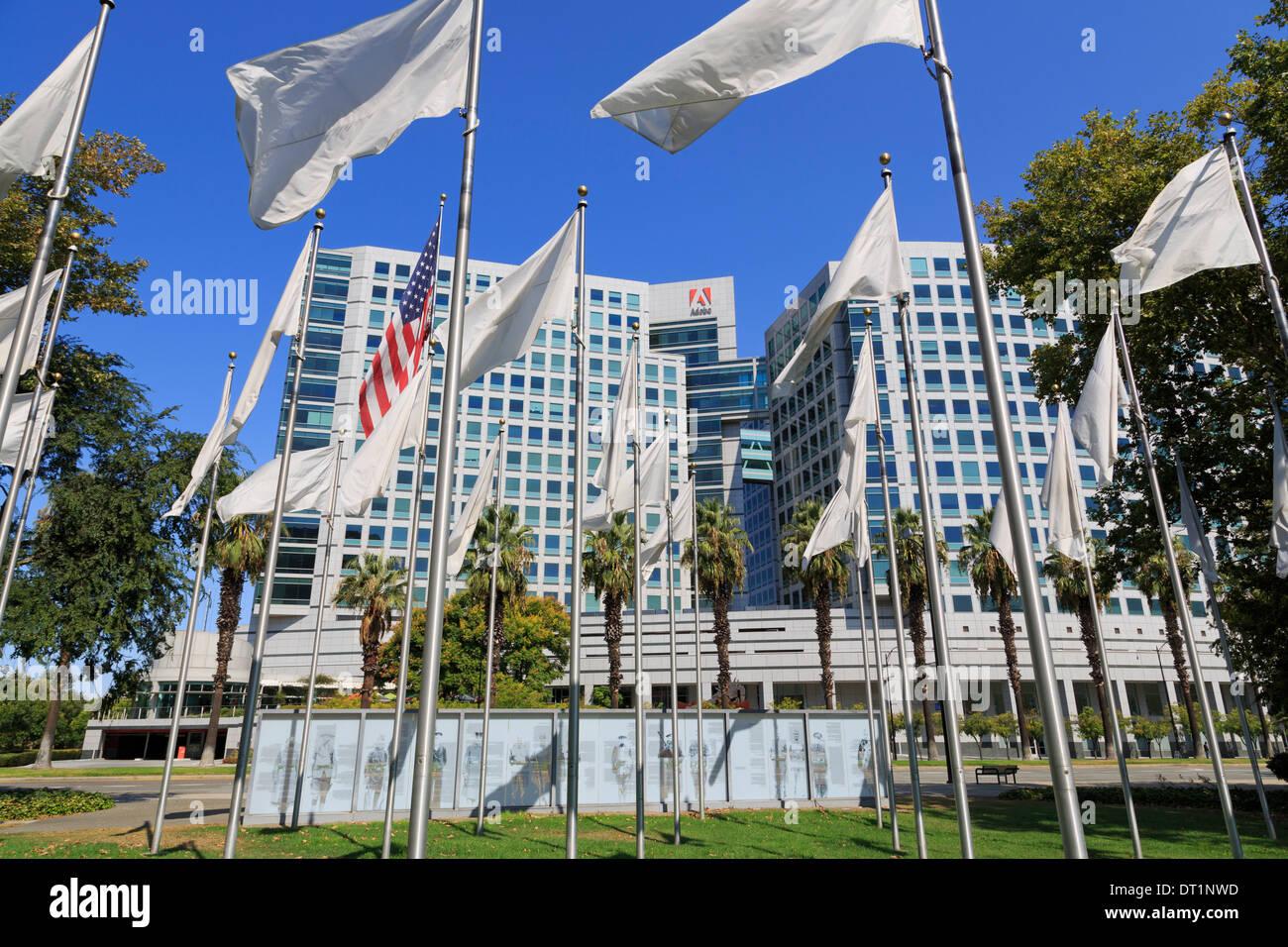 Flags in the Veteran's Memorial and Adobe Corporation, San Jose, California, United States of America, North America - Stock Image
