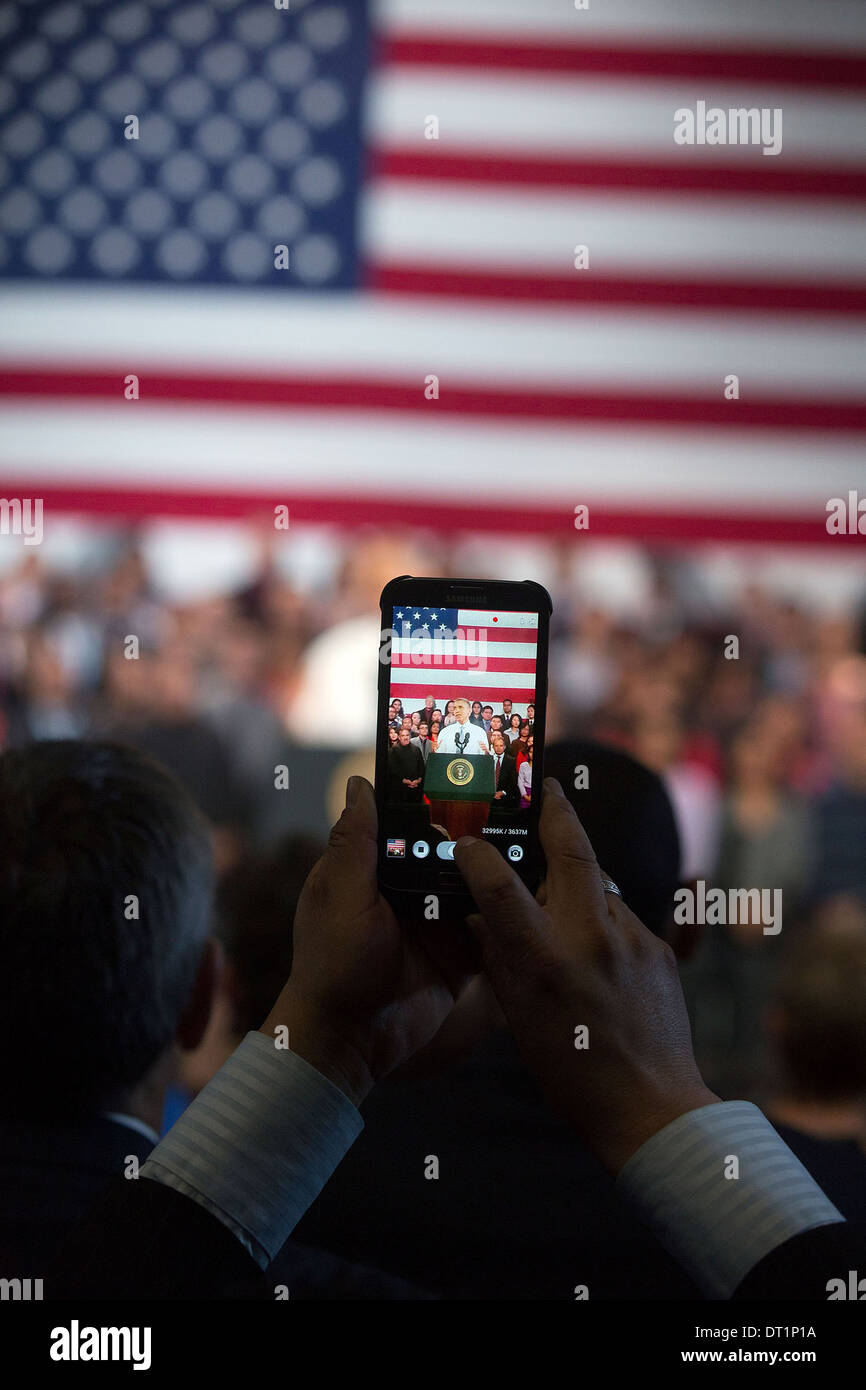 US President Barack Obama delivers remarks on immigration at the Betty Ann Ong Chinese Recreation Center November Stock Photo