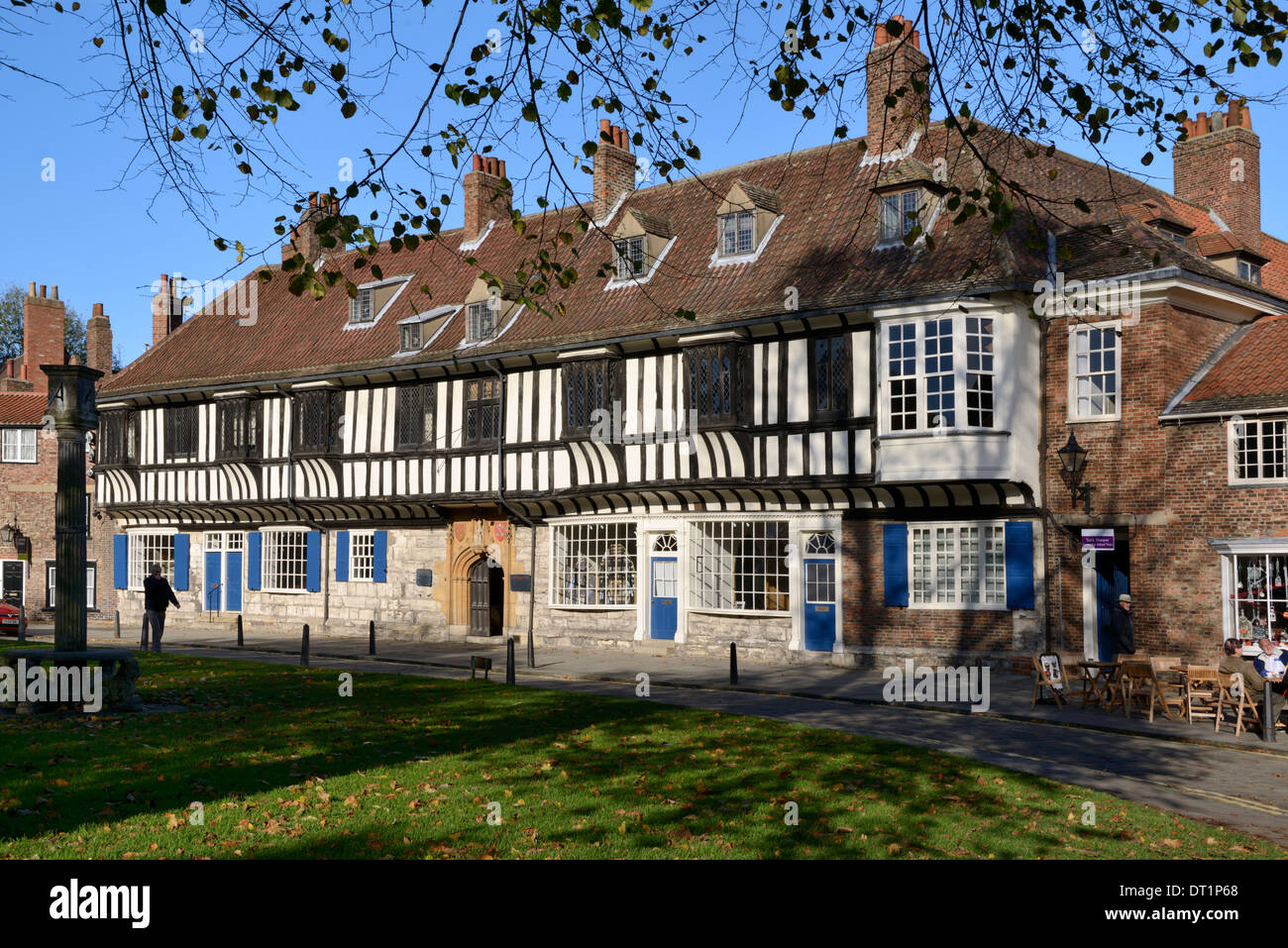 Medieval half-timbered buildings of St. William's College, College Street, York, Yorkshire, England, United Kingdom, Europe - Stock Image