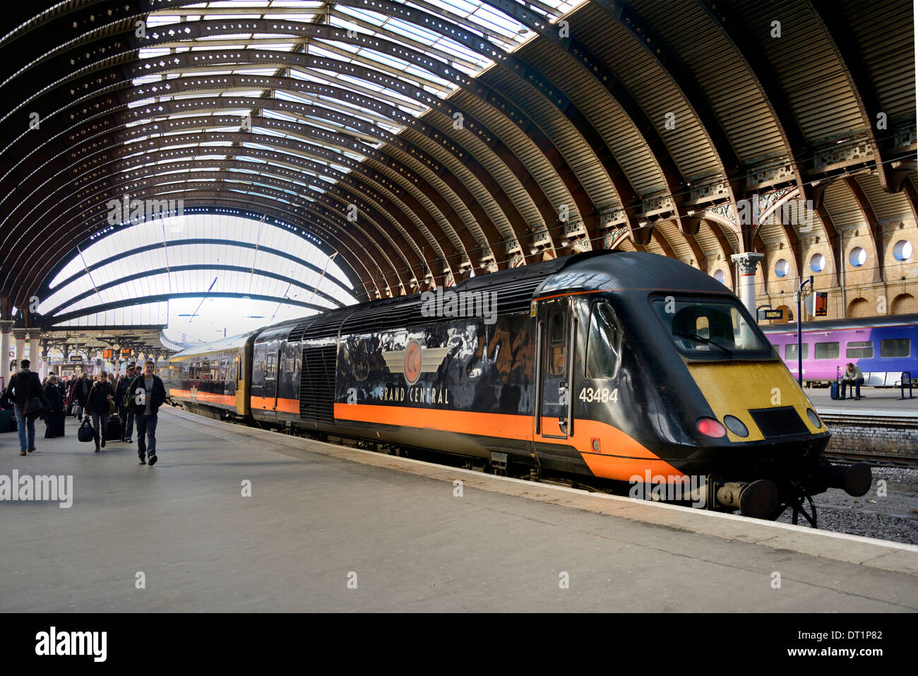 Train at York Railway Station, York, Yorkshire, England, United Kingdom, Europe - Stock Image