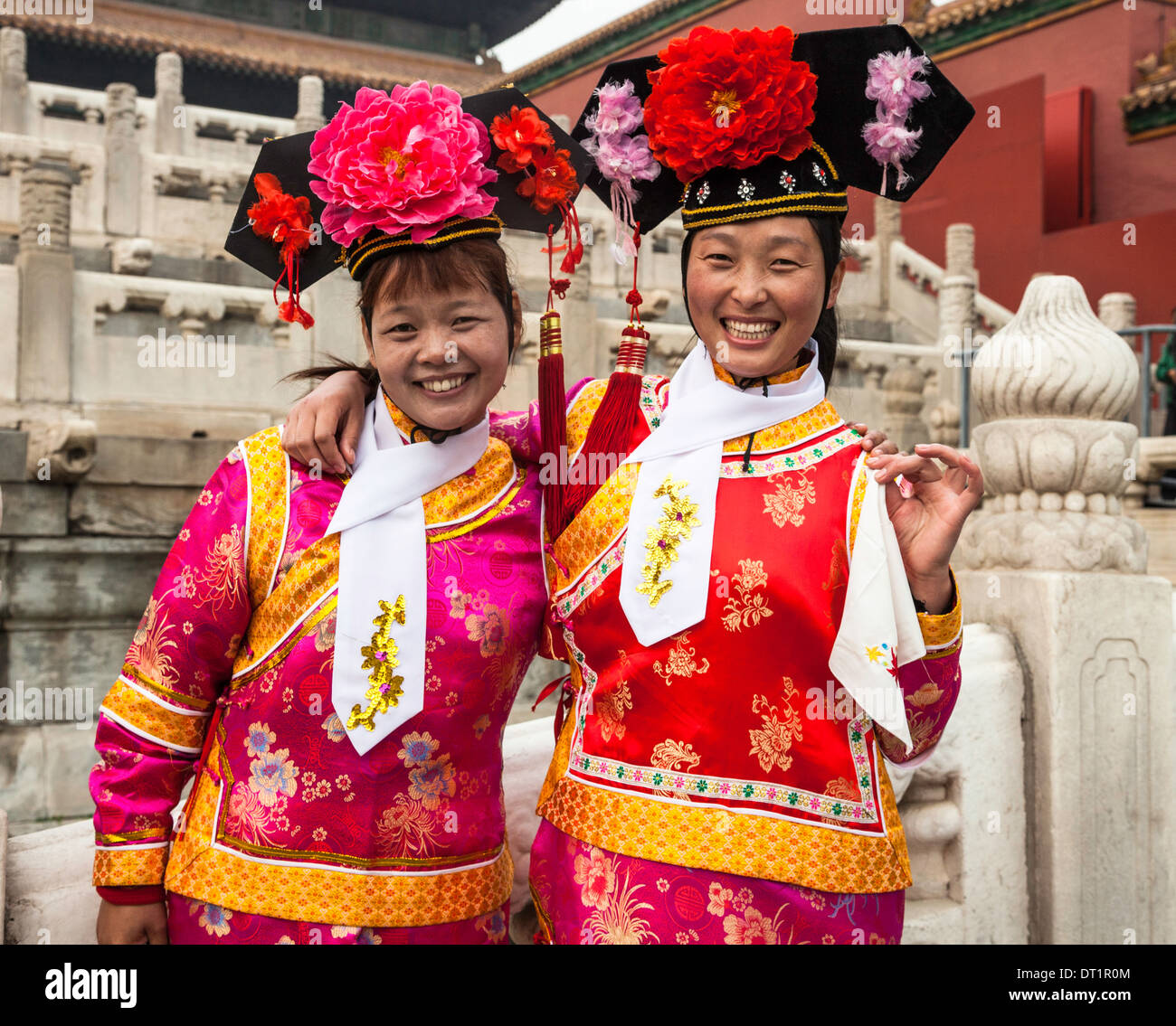 f4f7ca28b Young couple photographed in Traditional Chinese dress or Manchu from the  Qin DYNASTY costume as seen at the Forbidden City;