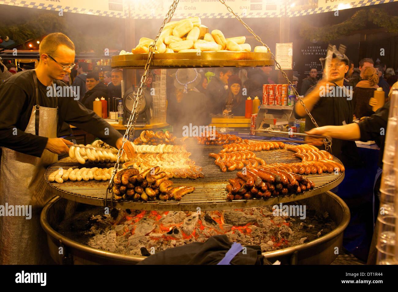 Hot dog stand, Christmas Market, Albert Square, Manchester, England, United Kingdom, Europe Stock Photo