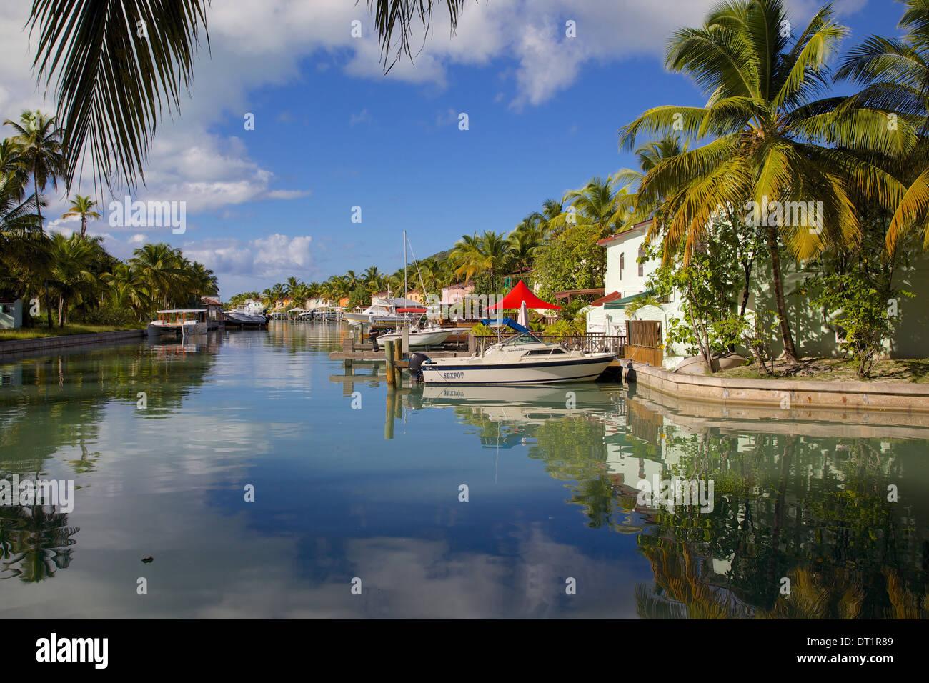 Marina, Jolly Harbour, St. Mary, Antigua, Leeward Islands, West Indies, Caribbean, Central America - Stock Image