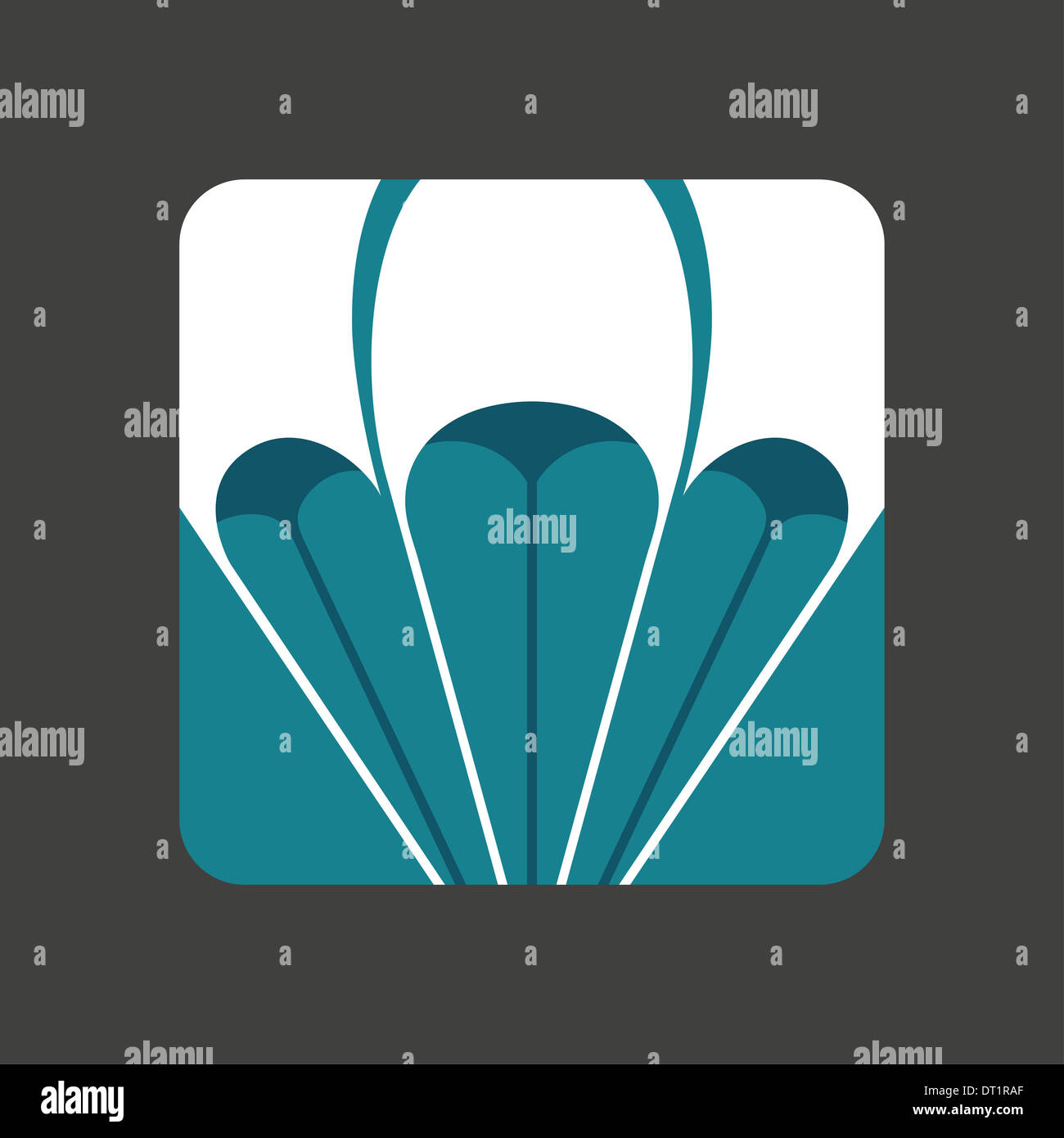 Flat icon with a open parachute - Stock Image