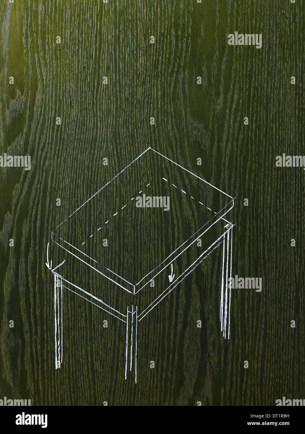 A line drawing image on a natural wood grain background A rectangular table with a detached top - Stock Image