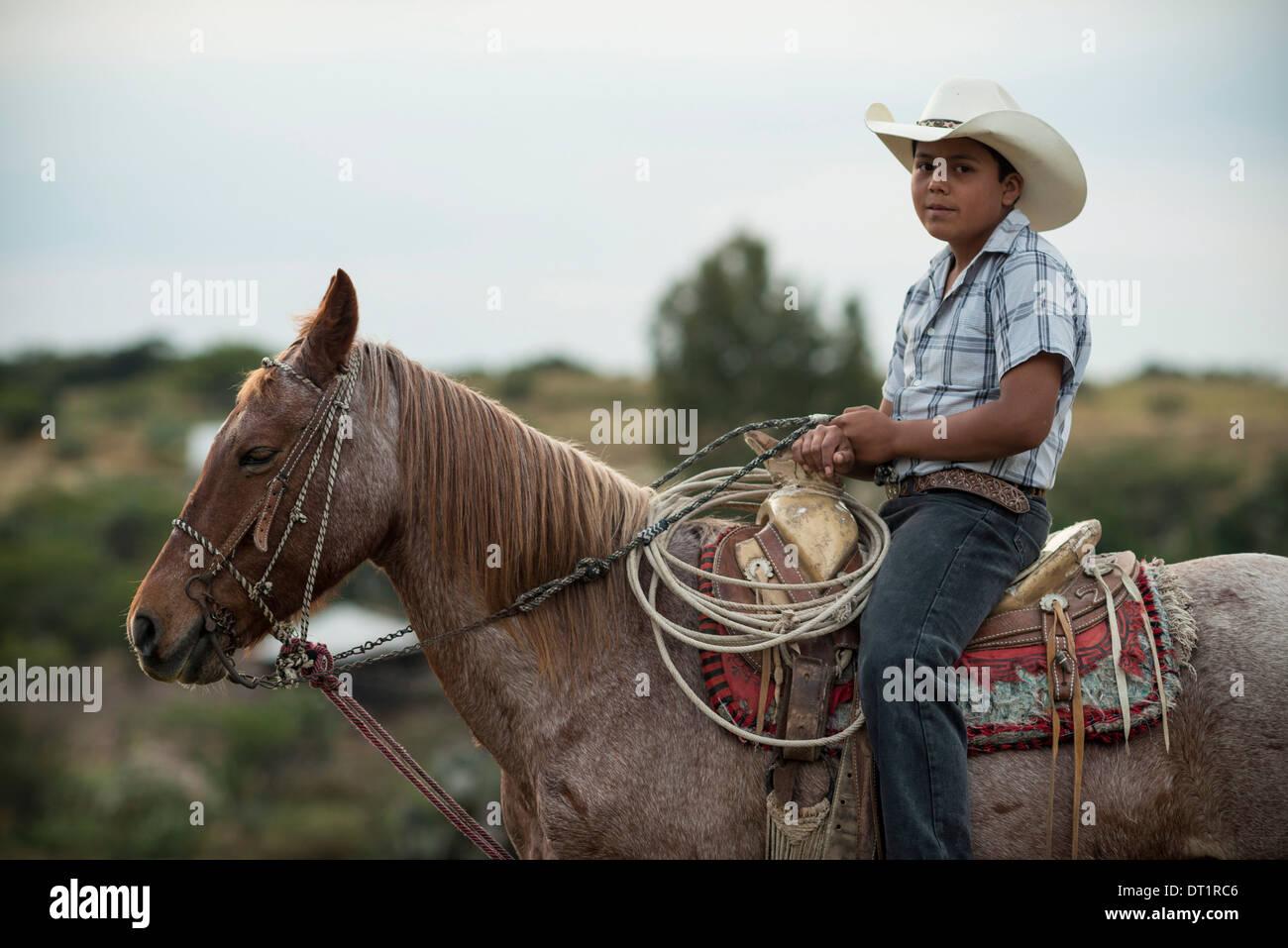 Portrait of Albaro, Rancho Xotolar, San Miguel de Allende, Guanajuato, Mexico, North America - Stock Image