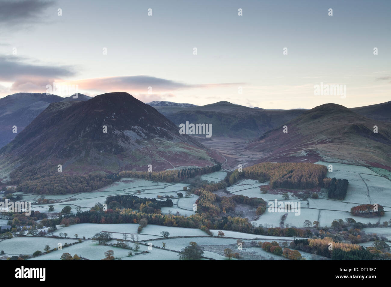 A frosty morning over Loweswater Fell in the Lake District National Park, Cumbria, England, United Kingdom, Europe - Stock Image