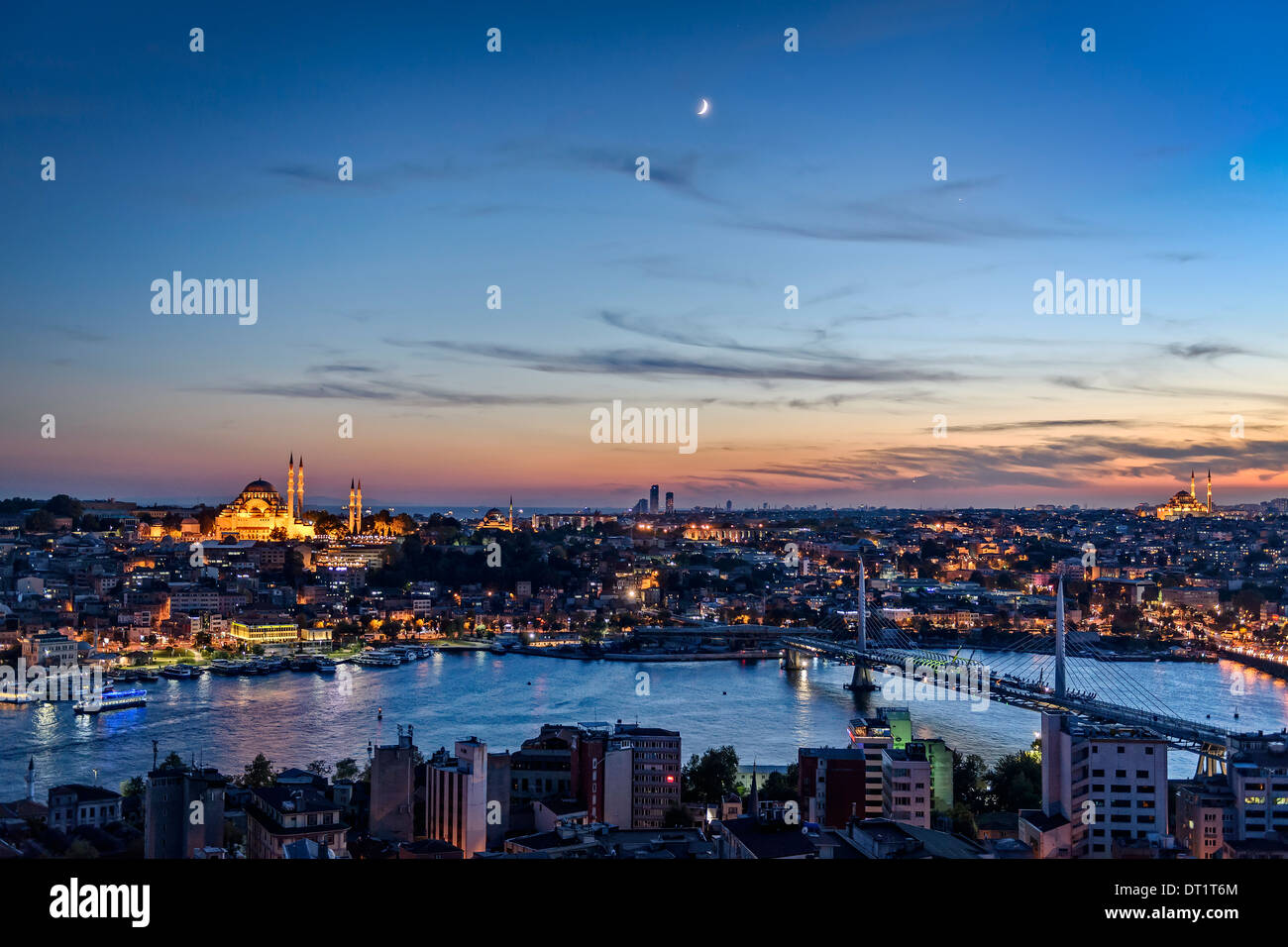 View over the Golden Horn with the Suleymaniye Cami to the left. - Stock Image