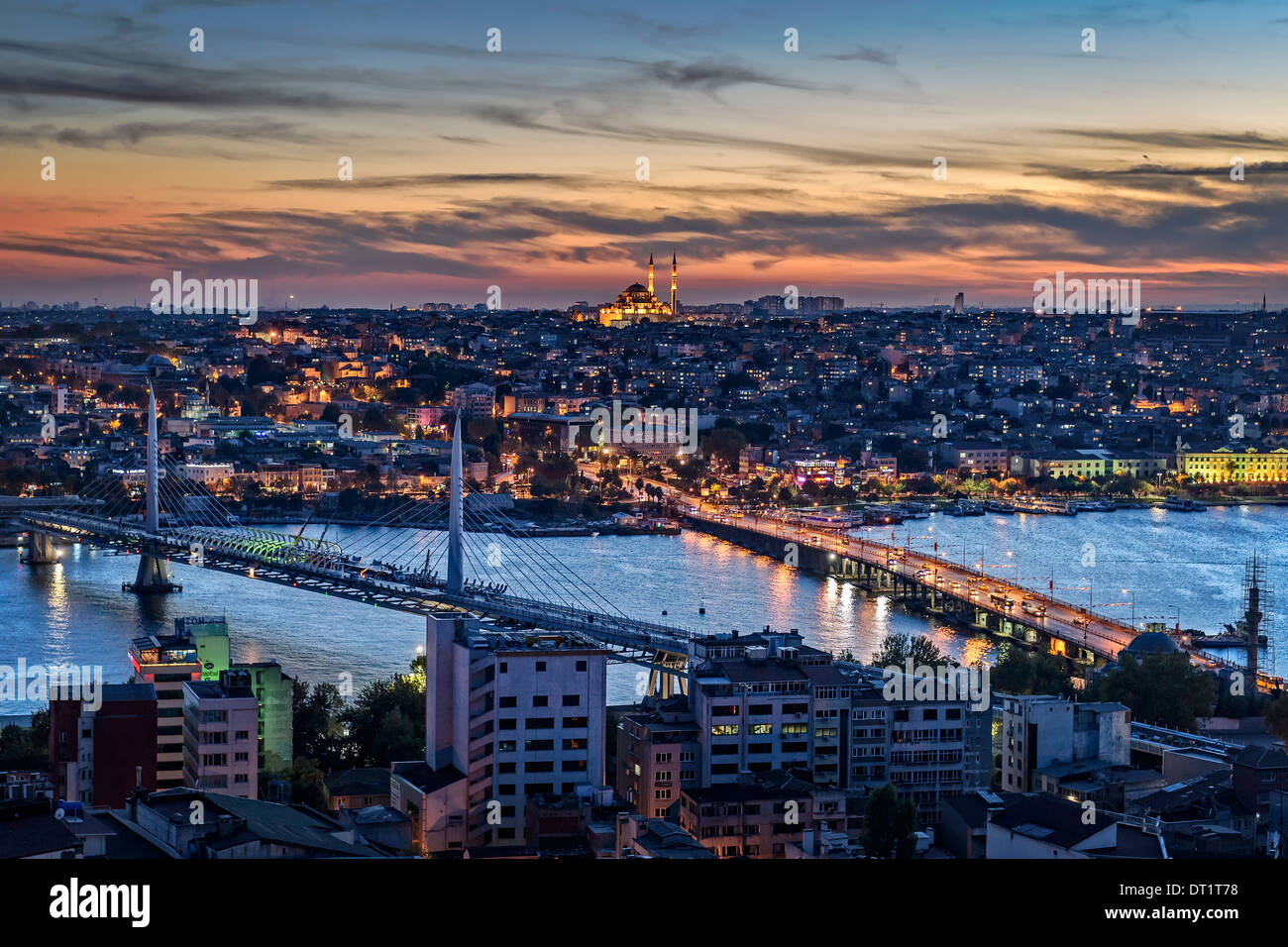 View over the Golden Horn with the Fatih Cami in the middle. - Stock Image